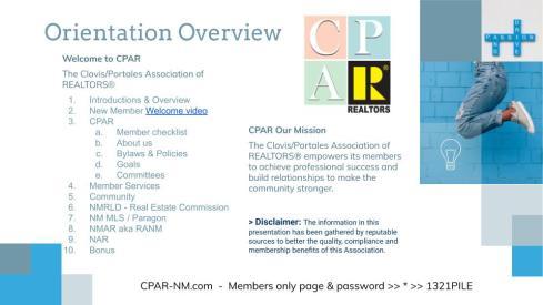 New Members Orientation 2020 handout